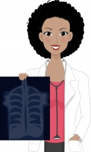 female doctor with xray